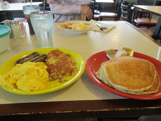 Benton Harbor, MI: huge breakfast - four eggs, four sausage links, four pancakes and hashbrowns for $9.99