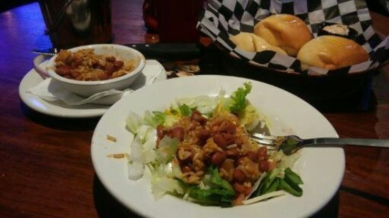Albertville, AL: Side salad with Charro beans and rice