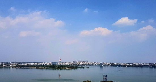 Hussain Sagar Lake: View during a clear day from the top of a building in the vicinity of the lake.