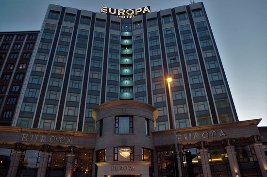 Europa Hotel - Belfast : The front exterior of the Europa Hotel.
