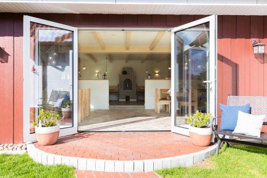 Amrum, Germany: Blick aus dem Garten in die Veranda