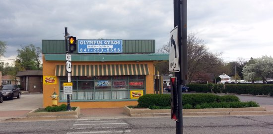 Mount Prospect, IL: front of & parking area for Olympus Gyros