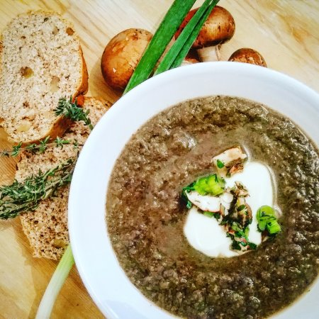 Letchworth, UK: Chunky Mushroom, thyme and spring onion soup