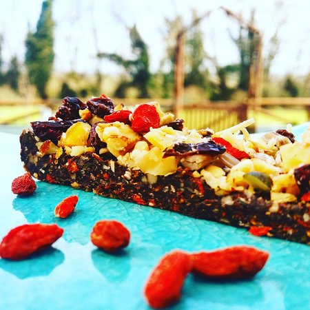 Letchworth, UK: Goji Berry Bars, packed with dates, cocoa, coconut and cinammon