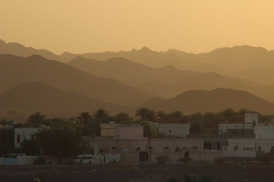 Ibra, Oman: View from the roof of the motel at sunset