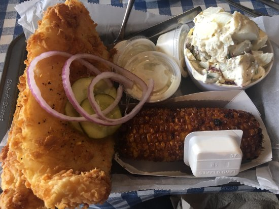 Marks Feed Store: Fried fish, potato salad, and fried corn on the cob. Fish is delicious.