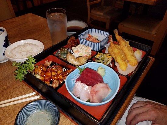 Lincolnwood, IL: Bento Box - Sashimi, Chicken Teriyaki, Shrimp/Veggie Tempura, spinach, pot sticker, potato salad