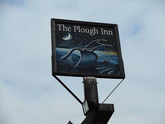The Plough Inn: The sign outside.