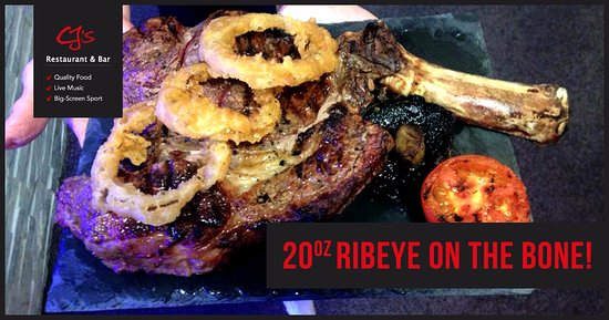 Nuneaton, UK: 20oz Ribeye on the bone - Available with all the trimmings only at CJ's