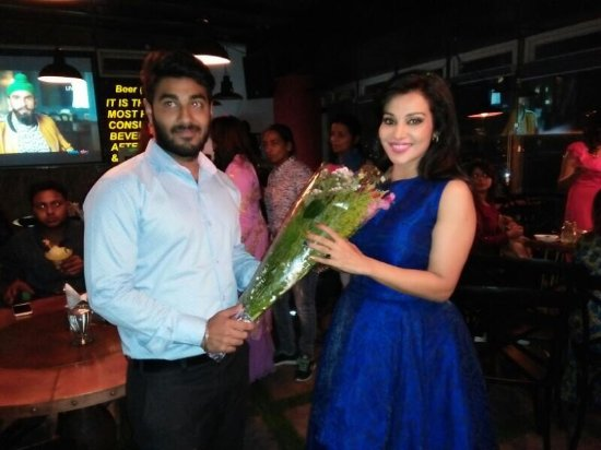 With begam Jaan Co star flora saini at sevva lounge and restaurant