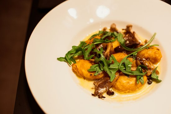 Gillingham, UK: Rosary Ash goats cheese gnocchi, wild mushrooms, and hard cheese veloute
