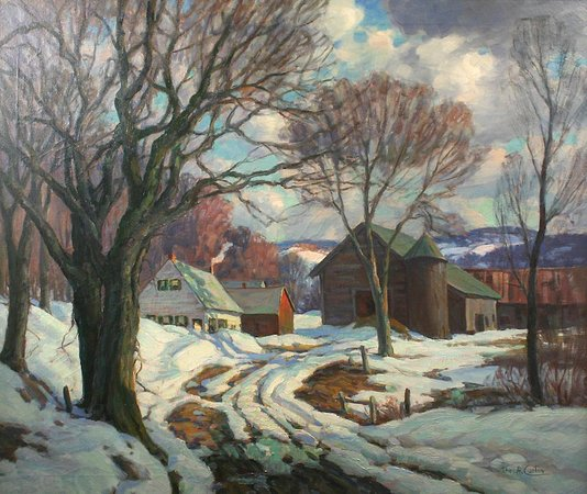 "Quechee, VT: Thomas R. Curtin landscape painting - Winter Thaw, 30""x36"""