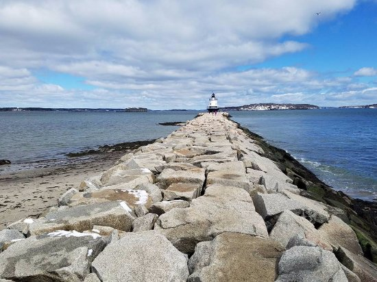 South Portland, ME: The stone pathway was a challenge to navigate, but fun.