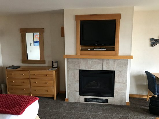 Inn At Cape Kiwanda: Fireplace and TV - Room 310