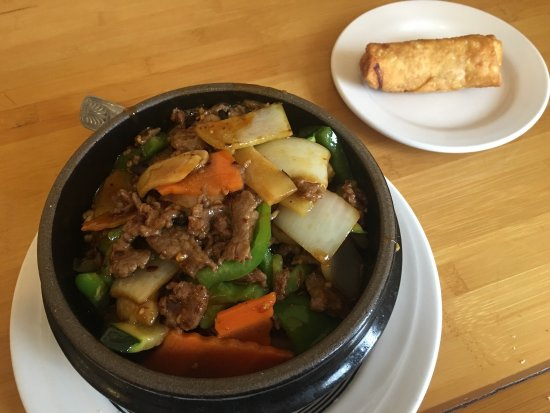 New Albany, IN: Hunan Beef rice bowl and egg roll; part of the lunch special.