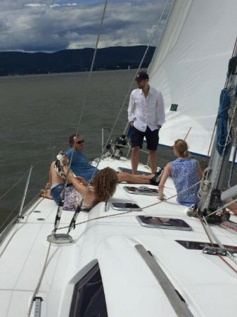 Nyack, NY: relaxing conversation during a sail
