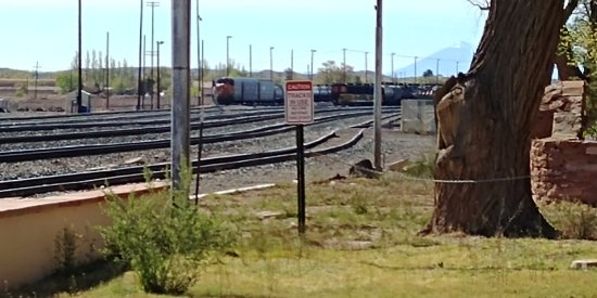 Winslow, AZ: The ubiquitous east-west railroad tracks behind La Posada