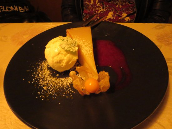 Kokkola, Finland: White chocolate mud-cake with berry sauce