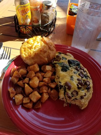 """Windermere, FL: """"The Lew"""" omelet - Spinach, olives and fetta cheese."""