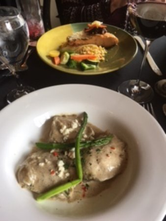 Idaho Falls, ID: Butternut squash ravioli and grilled salmon