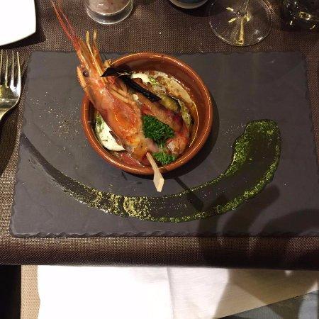 Schonried, Switzerland: Parmigiana with shrimp.