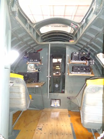 Urbana, OH: Radio Section (Radio operator's Station) of the B-17, with the Bomb Bay through the door