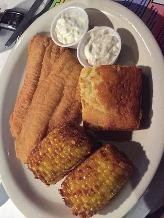 Murfreesboro, TN: catfish dinner, with fried corn on the cob and jalapeño cornbread