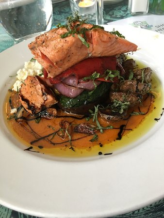 Sweet Laurette Cafe and Bistro: this is the mezze dish with salmon-grilled eggplant, onion,feta cheese, red pepper and salmonand