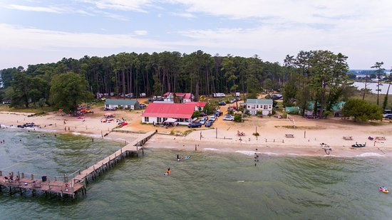 Piney Point, MD: Aerial view of the campground. You can see our pier and the swimming area.