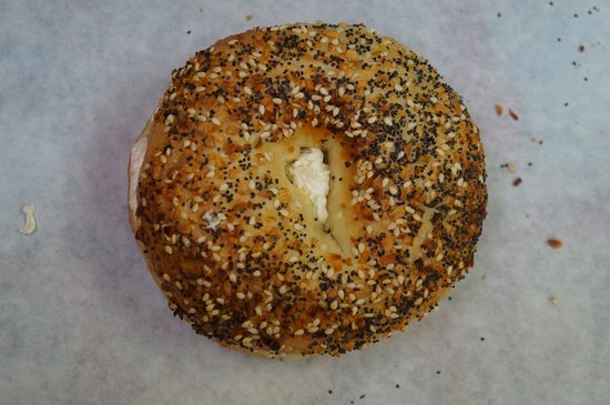 Kenai, AK: Keeping it simple, an Everything Bagel with plain cream cheese