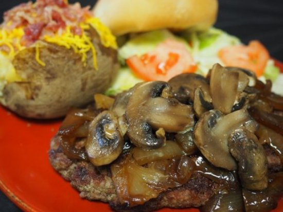 Warner Robins, GA: Chopped steak topped with grilled mushrooms and onions. Let the drooling begin.