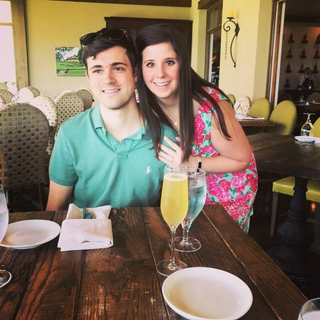 Dahlonega, GA: Almost newlyweds enjoying a glass of sparkling Mead before lunch