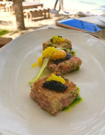 Grand Cul-de-Sac, St. Barthlemy: Salmon with caviar finger lime quail egg