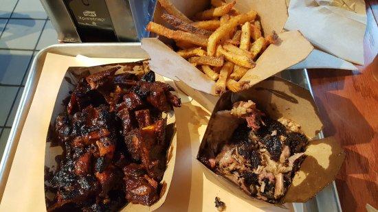 B.T.'s Smokehouse: Smoked Brisket, Hand Cut Fries and Sticky Sauce Rib Tips