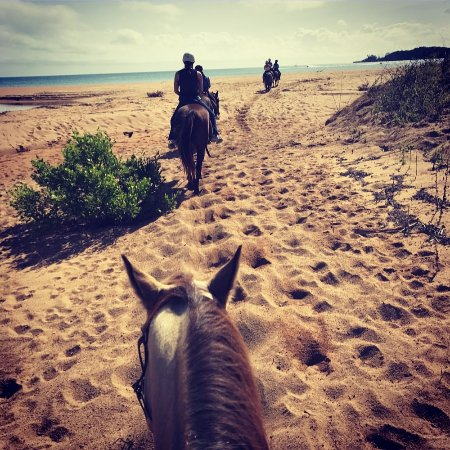 Magnetic Island, Australia: Riding on the beach after the wildness trail.