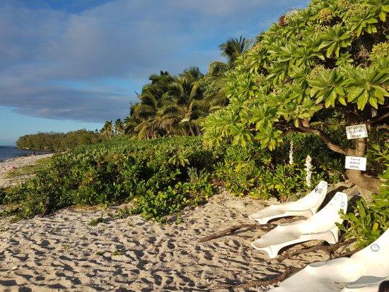 Tongatapu Island, Tonga: 10 metres from Fale 3. Beach entrance to Resort.