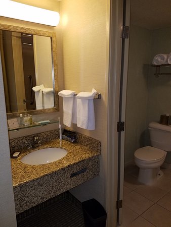 DoubleTree by Hilton Santa Fe: The sink area - no place to put anything. Carpeting on the floor