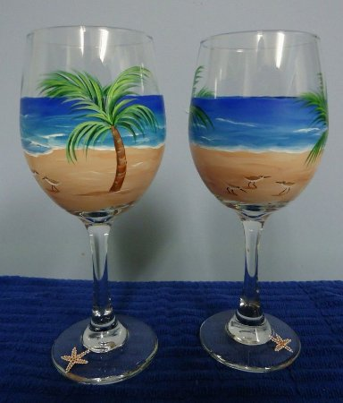 Villas, NJ: painted wine glasses at the Budding Artist Studio BYOB