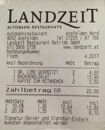 Ansfelden, ออสเตรีย: Rechnung Landzeit