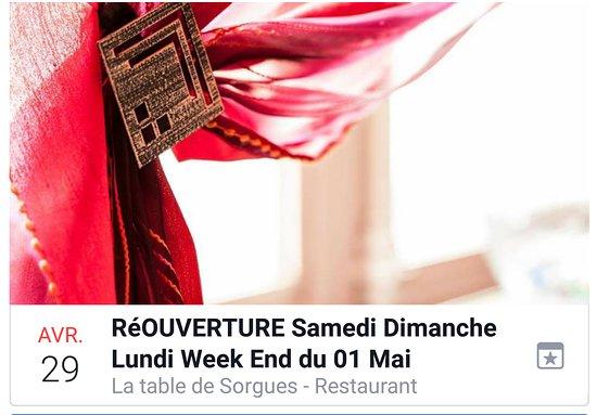 Sorgues, Francja: ouvert ce we samedi 29 dimanche 30 Avril midi & soir - lundi 01 Mai midi