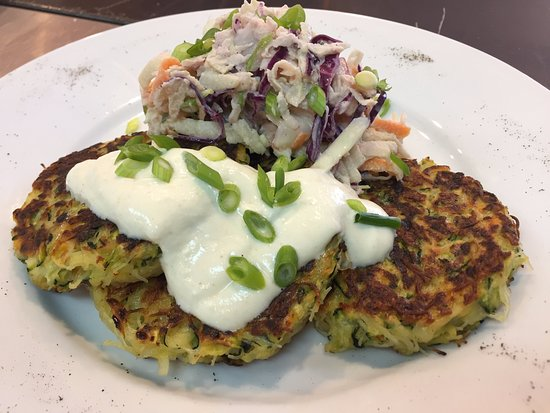 Mornington, Australia: zucchini fritters with apple slaw and cumin dressing