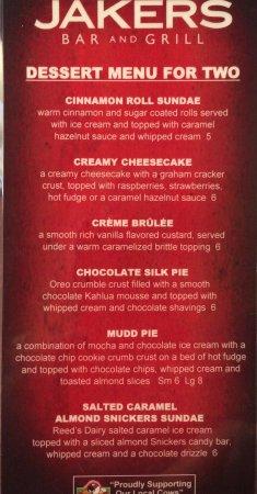 Pocatello, ID: BAR area, dessert menu