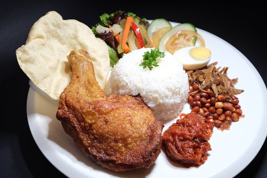 NASI LEMAK WITH FRIED CHICKEN DRUMSTICK - Picture of Restoran