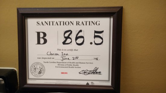 "Cornelius, NC: Food Sanitation ""B"" Rating"