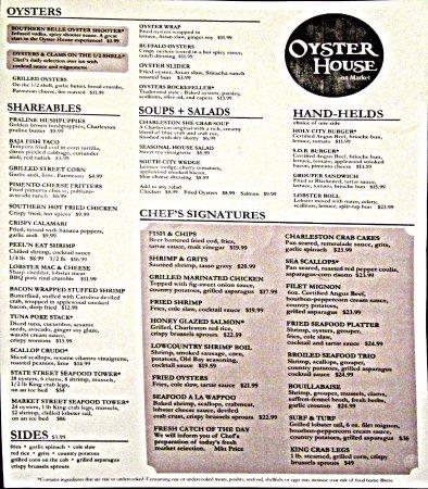 deals oyster house menu