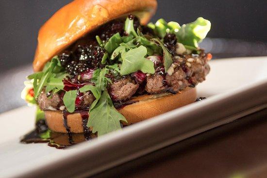 Hopkins, MN: Bleu-berry Burger: bleu cheese crumbles, port blueberry  compote, red onions & arugula