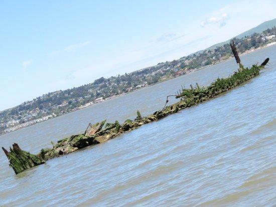 Martinez, CA: Wrecked ship visible off shoreline