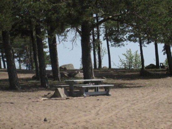 Äijänniemi Beach: rannalla on myös penkkejä, roskiksia ym. retkeilijöille