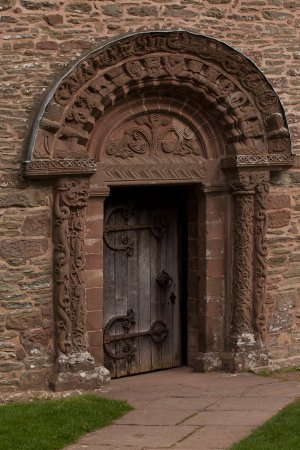 The entrance to Kilpeck church - note the fine carvings