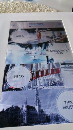 Restaurant de L'Atomium : menu sur tablette...